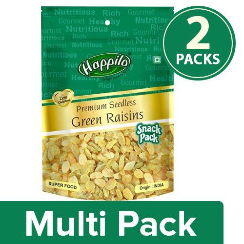 Happilo Premium Raisins - Green, Seedless, 2x40 g Multipack