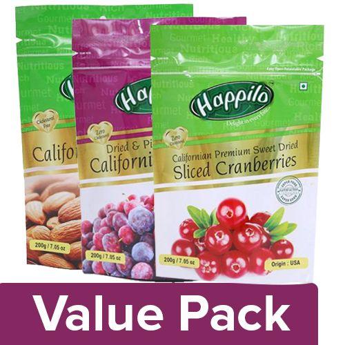 Happilo Premium Californian  - Almonds 200G + Prunes 200G + Cranberries 200G, Combo 3 Items
