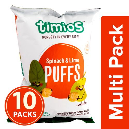 Timios Snacks - Puffs, Spinach & Lime, 2+ Years, 100% Natural & Healthy, 10x30 g Multipack