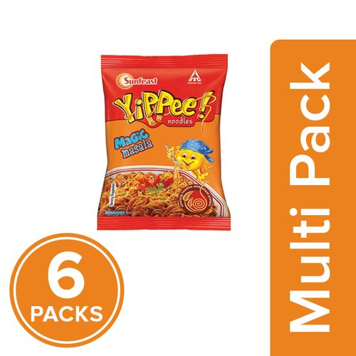 Sunfeast Yippee Noodles - Magic Masala, 6x60 g Multipack