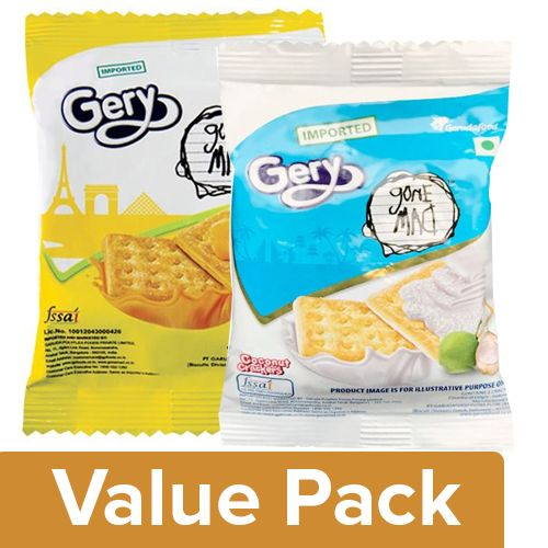 Gery Gone Mad Crackers - Cheese & Sugar 20G +  Coconut 20G, Combo 2 Items