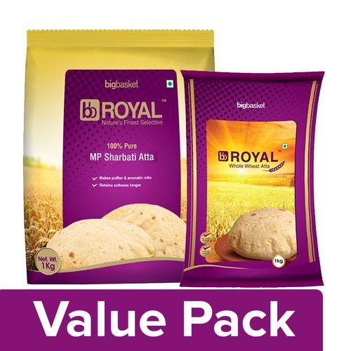 bb Royal MP Sharbati Wheat Atta - 100% Pure 1kg + Whole Wheat Atta 1kg, Combo 2 Items