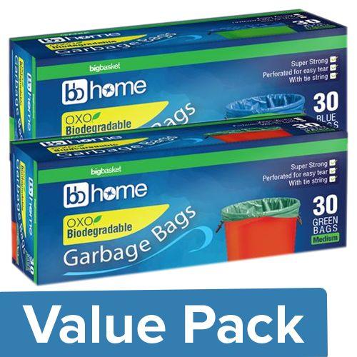 BB Home Garbage Bags - Medium, Blue + Medium, Green (30pcs, 19x21), Combo 2 Items