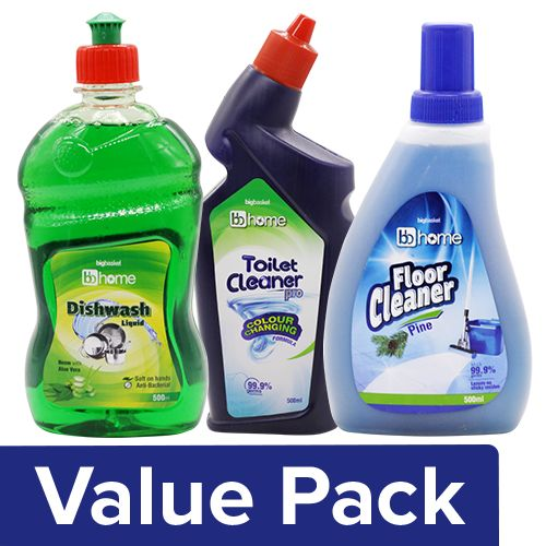 BB Home Toilet Cleaner - Pro + Floor Cleaner - Pine + Utensil Cleaner - Neem (500ml), Combo 3 Items