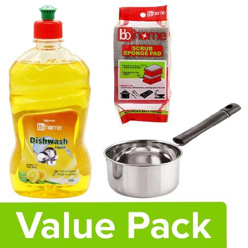bb Combo Neelam Milk Pan - Regular 1.15L + BB Home Utensil Cleaner 500ml+ Scrub Pad 2pcs, Combo 3 Items