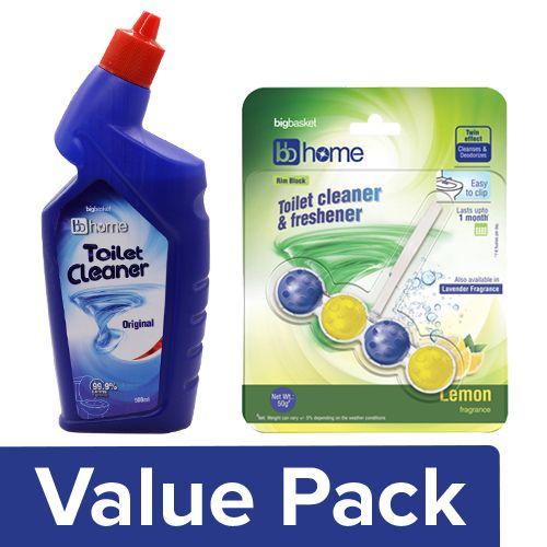 BB Home Toilet Cleaner - Original 500ml + Toilet Cleaner & Freshner Lemon 50G Pack of 4, Combo 2 Items