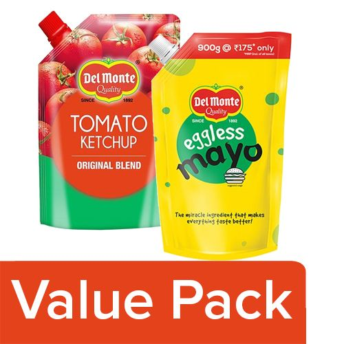 Del Monte Tomato Ketchup - Original Blend 950G + Mayonnaise - Eggless Spout 900G, Combo 2 Items