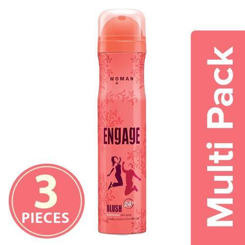 Engage Bodylicious Deodorant Spray - Blush, For Women, 3x150 ml (Multipack)