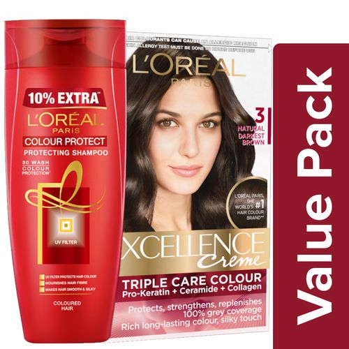Loreal Paris Hair Colour - 3 Natural Darkest Brown 72ml + 100g + Color  Protect Shampoo 175ml, Combo 2 Items
