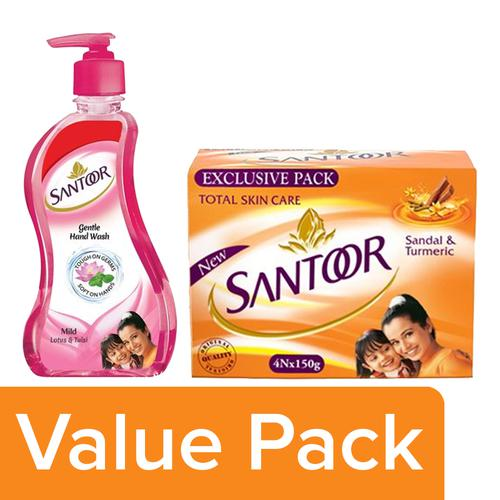 Buy Santoor Sandal & Turmeric Soap 150g (Pack Of 4) + Hand Wash- Mild 215ml  Buy 1 Get 1 Free Online at Best Price - bigbasket