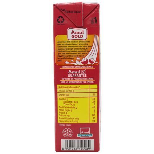 Amul Gold Homogenised Standardised Milk, 2x1 L Multipack