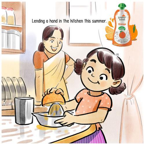 Paper Boat Orange Juice With Vitamin D, No Preservatives, 4 x 150 ml Multipack