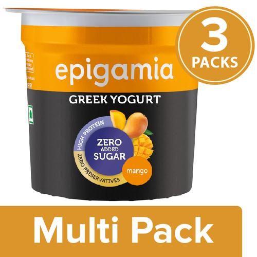 Epigamia  Greek Yogurt - Alphonso Mango, No Added Sugar, Cup, 3X90 g Multipack