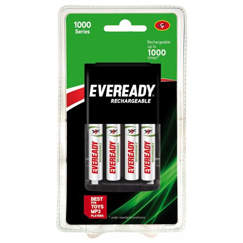 Eveready Rechargeable AA Battery BP4 With Charger 700 Nimh, 4 pcs
