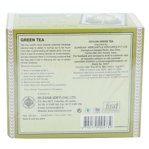 Mlesna Tea Bags - Pure Green Tea, 50 Bag x 2 gm Each 100 gm