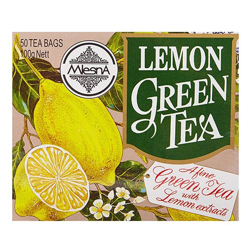 Mlesna Flavored Green Tea Bags - Lemon, 50 Bag x 2 gm Each 100 gm