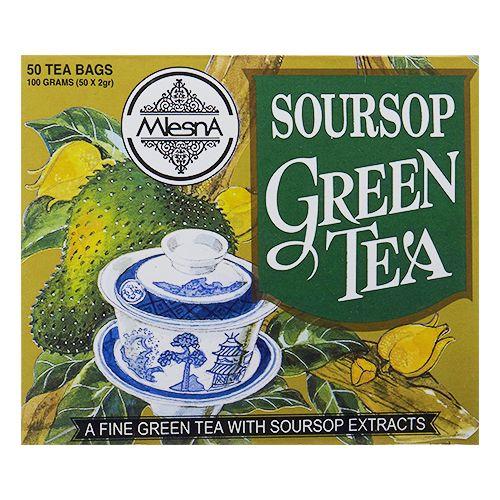 Mlesna Flavored Green Tea Bags - Sour Sop, 50 Bag x 2 gm Each 100 gm