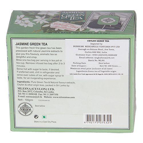 Mlesna Flavored Green Tea Bags - Jasmine, 50 Bag x 2 gm Each 100 gm