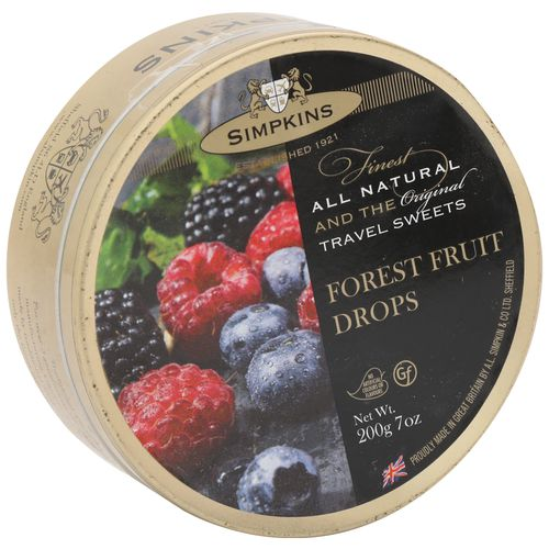 Simpkins  Travel Sweets - Forest Fruit, 200 gm Tin