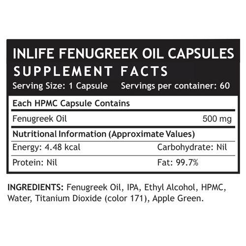 Inlife Fenugreek Oil - Liquid Filled Capsules, 60 pcs Bottle