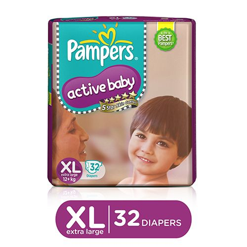Buy Pampers Active Baby Diaper Xl 56 Pcs Pouch Online At