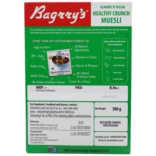 Bagrrys Crunch - Almond and Raisins, 500 gm Carton