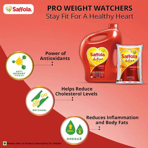 Saffola Active - Pro Weight Watchers Edible Oil, 5 L Jar