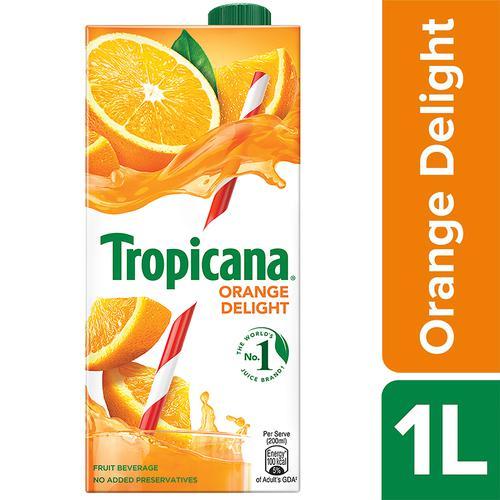 Tropicana Fruit Juice - Delight, Orange, 1 L