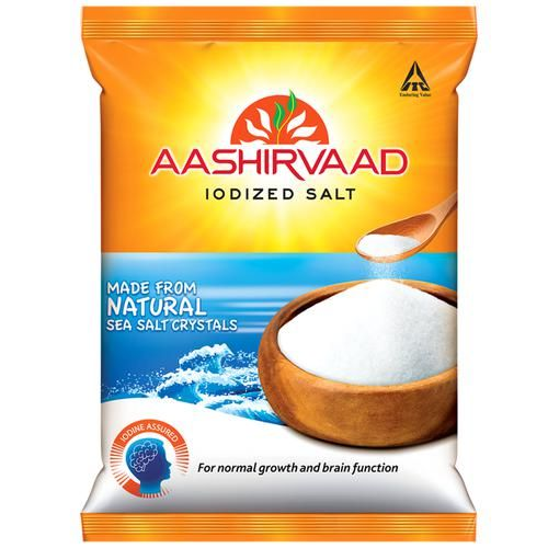 Aashirvaad Salt/Uppu - Iodised, 1 kg Pouch