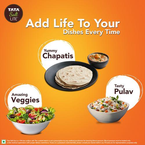 Tata Salt Lite - 15% Low Sodium Iodised Salt, 1 Kg Pouch