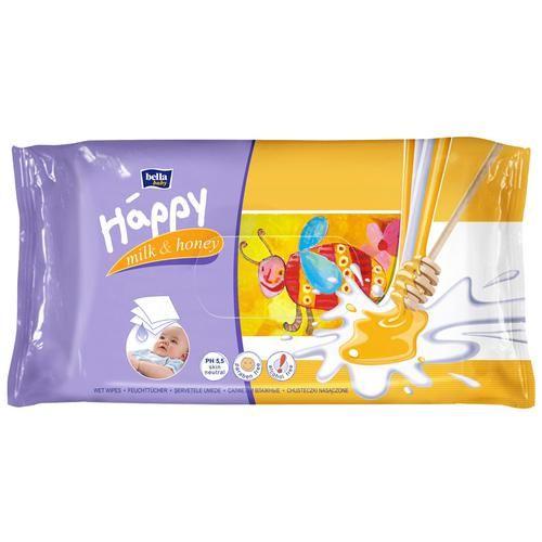 Bella Baby Happy Wet Wipes - Milk & Honey, 64 pcs