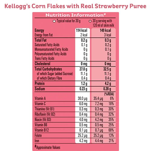 Kelloggs Strawberry Corn Flakes, 100 g