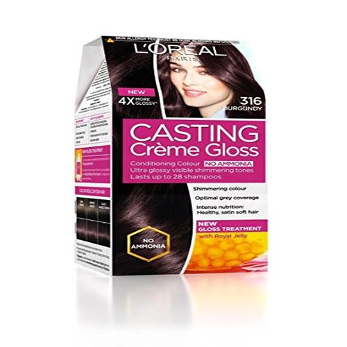 Loreal Paris Loreal Paris Casting Creme Gloss Hair Colour Burgundy 316 87.5 gm + 72 ml, 87.5 gm + 72 ml