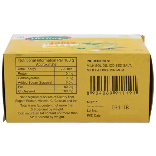 Heritage Table Butter - Pasteurised, 500 g Carton