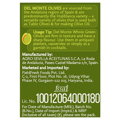 Del Monte Green Olives - Plain, 450 g