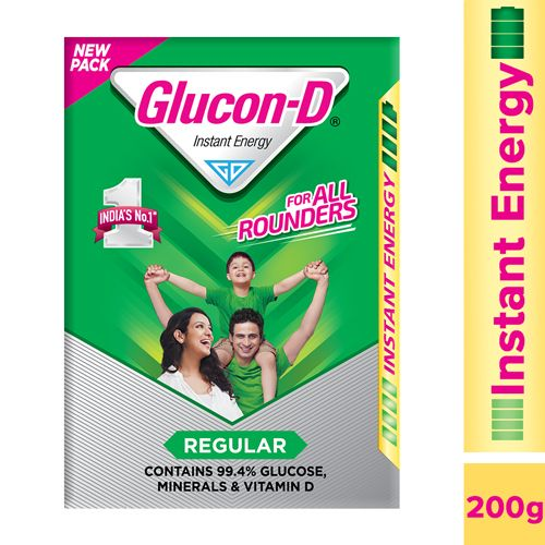 Glucon-D Beverage Mix - Glucose Based, 200 gm Pouch