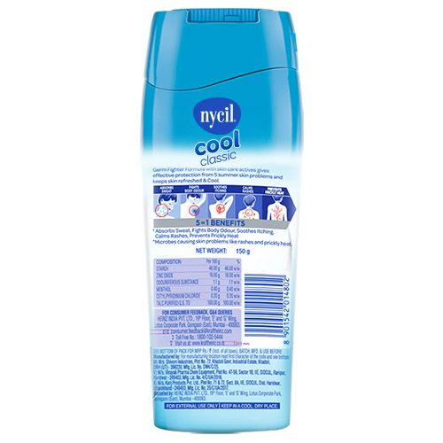 Nycil Prickly Heat Powder - Cool Classic With Menthol, Cosmetic, 150 gm