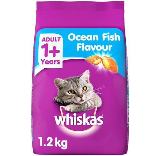 Whiskas Cat Food - Dry, Ocean Fish Flavour, For Adult, +1 Year, 1.2 kg