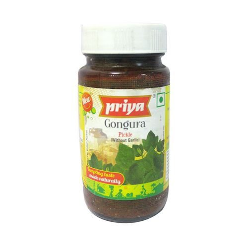 Priya Pickle - Gongura (Without Garlic), 300 gm Bottle
