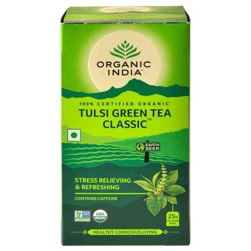 ORGANIC INDIA Infusion Bags - Tulsi Green Tea, 25 Bags x 1.7 gm, Each 43.5 gm