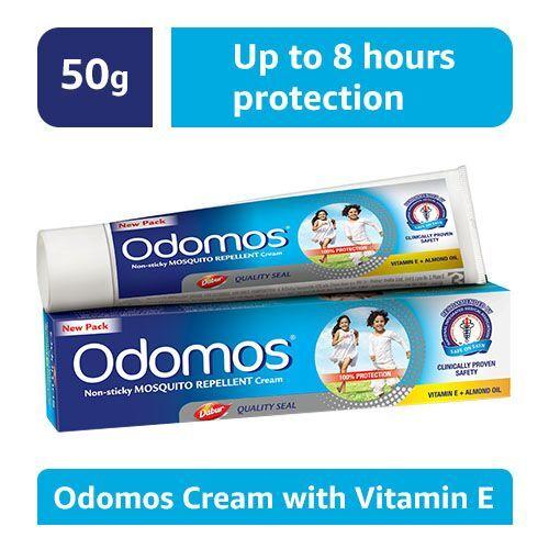 Odomos Cream - Non-Sticky Mosquito Repellent (With Vitamin E & Almond), 50 gm Tube