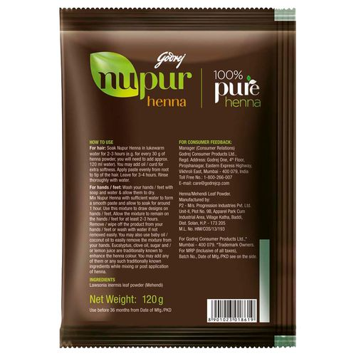 Nupur Henna: Buy Godrej Nupur Mehendi 120 Gm Online At Best Price