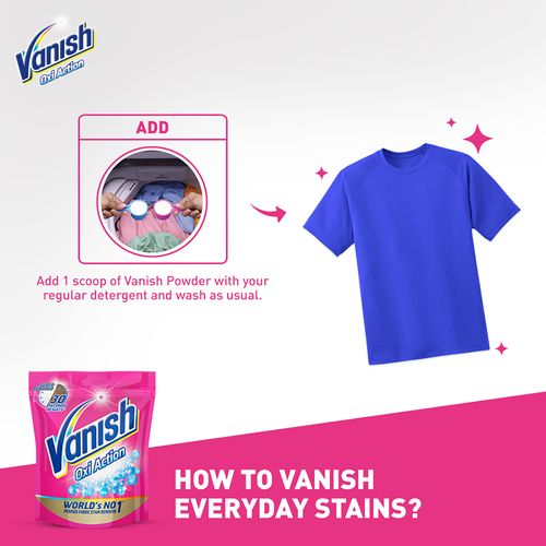 Vanish Oxi Action Fabric Stain Remover Powder - Detergent Booster For Whiter & Brighter Clothes, 400 g