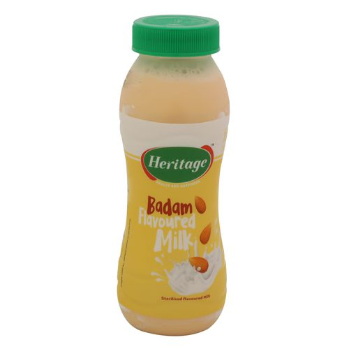 Heritage Flavoured Milk - Badam, 200 ml Bottle