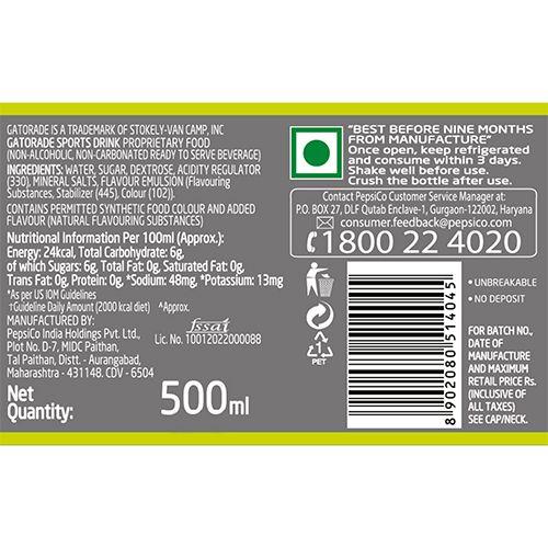 Gatorade Sports Drink - Lemon Flavour, 500 ml