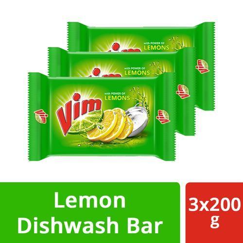 Vim Dishwash Bar - Lemon, 200 g (Pack of 3)