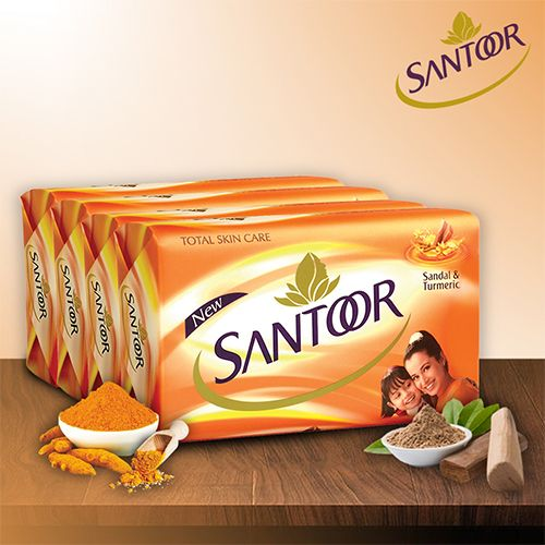 Santoor Sandal & Turmeric Soap, 125 gm Pack of 4