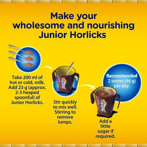 Horlicks Junior Health & Nutrition Drink - Chocolate Flavour, Stage 2, 4-6 years, 500 g Carton