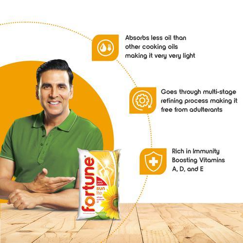 Fortune  Sun Lite - Sunflower Refined Oil, 1 L Pouch