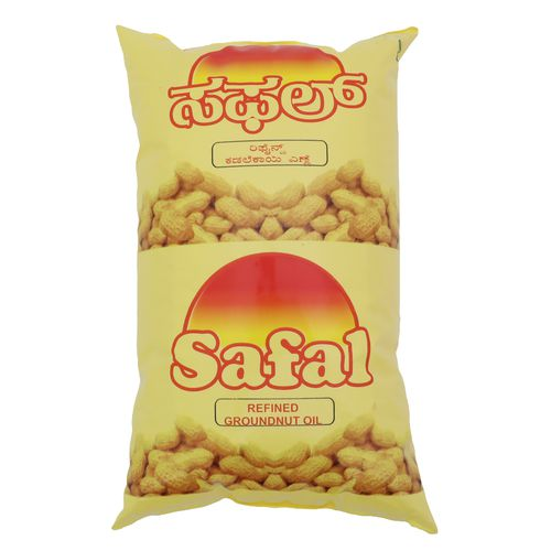 Safal Refined Oil - Groundnut, 1 L Pouch